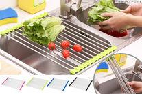 【1,050円】≪☆送料無料☆キッチンの周りを有効活用♪♪鍋や野菜などの水切りにぴったり!使わないときはコンパクトに丸めてしまえば場所も...
